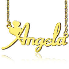 Name Necklace Gold Solid Gold Fiolex Girls Fonts Heart Name Necklace