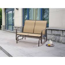 Patio Chair Material by Mainstays Wesley Creek 2 Seat Sling Glider Walmart Com