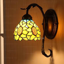 Stained Glass Wall Sconce Decorative Sunflower Pattern Stained Glass Wall Sconces For Bedroom