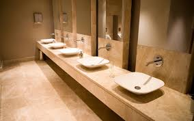 commercial bathroom decorated with kourasanit natural hydraulic