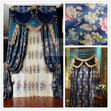 luxury drapery interior design luxurious american style floral design gradient blue chenille