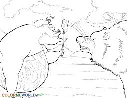 caveman with bear pdf printable coloring page minions minions