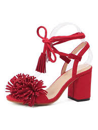 red tassel detail ankle lace up block heeled sandals choies