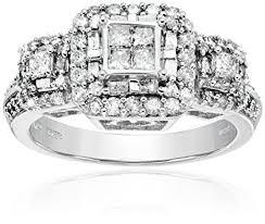 10k wedding ring 10k white gold engagement ring 1 cttw i j color i2 i3