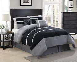bedroom black and gray micro suede comforter sets having white