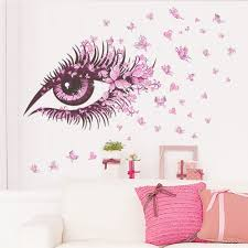 Amazon Wall Murals by Amaonm Beautiful Pink Eyes U0026 Flying Butterfly Wall Decal Https