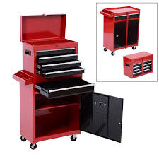 rolling tool storage cabinets homcom 2 piece rolling tool cabinet storage set with 5 drawers and