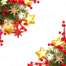 border christmas background with red berry and gold stars