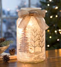 glass holiday lantern with holiday scene lamps easy christmas