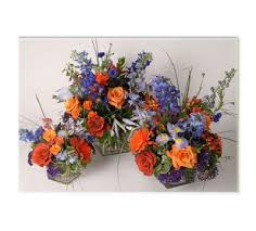 Purple Centerpieces Chicago Wedding Flowers Orange Blue And Purple Centerpieces
