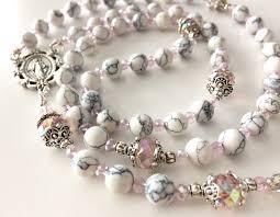 personalized rosary white howlite rosary gemstone rosary catholic rosary