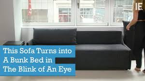 sofa becomes bunk bed this sofa turns into a bunk bed in the blink of an eye youtube