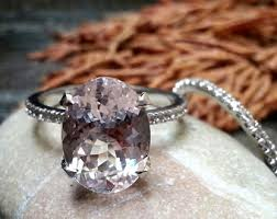 Promise Engagement And Wedding Ring Set by Unique Engagement Ring White Gold Morganite Engagement U0026