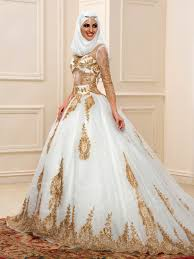 wedding dress muslim luxurious golden sequins sleeves arabic muslim wedding dress