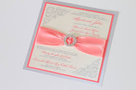 coral wedding invitations embellished paperie couture wedding invitations in coral