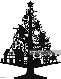 christmas tree silhouette vector art getty images