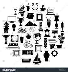 Decor Of Home Silhouette Home Decor Set Accessories Icons Stock Vector 476491195