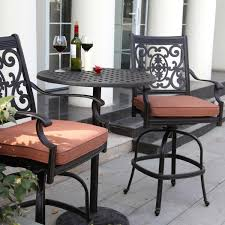 Bar Height Patio Set With Swivel Chairs Upholstered Wrought Iron Armchair With Square Bar Height Dining