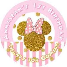 Minnie Mouse Easter Stickers Minnie Mouse Pink And Gold Glitter Birthday Stickers
