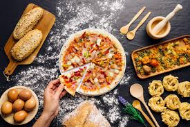 Food Decoration Images Italian Food Decoration With Hand Taking Pizza Slce Photo Free