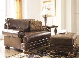 brown chair and ottoman ashley brown leather durablend antique chair 1 2 by ashley furniture