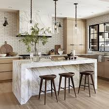 Modern Kitchen Island Table Light Wood White Range Hood Wood Cabinets Marble Island Top And