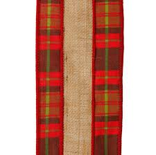 plaid christmas raz and green plaid with burlap christmas craft ribbon