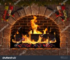 christmas fireplace burning yule log hearth stock illustration