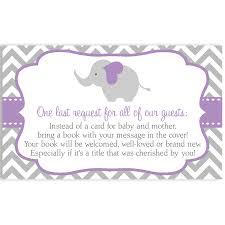 Baby Shower Invitations Bring A Book Instead Of Card Chevron Elephant Purple Baby Shower Invitation U2013 The Invite Lady