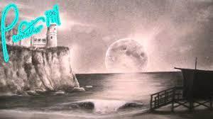night beach landscape drawing lighthouse youtube