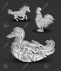 animal engraving ornaments 3d horse rooster and duck royalty