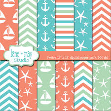 aqua sea glass and coral nautical beach digital scrapbook