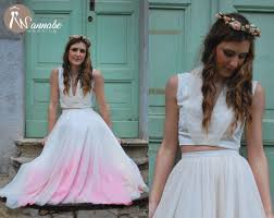boho chic wedding dress deep v neckline top low back ombre
