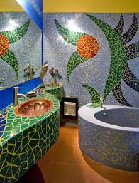 bathroom awesome colorful mosaic bathroom design idea simple and