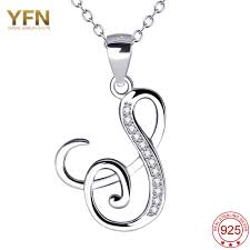 s necklace with names yfn 925 sterling silver jewelry a pendants necklaces letter s charm