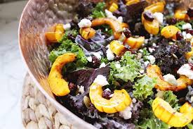 fall recipe kale salad with roasted delicata squash maple