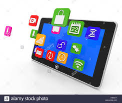 social media tablet meaning news feed and application stock photo