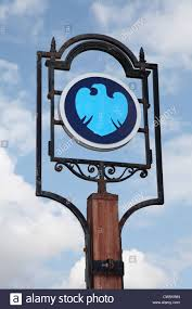barclay s bank sign or logo on ornamental post sedgefield