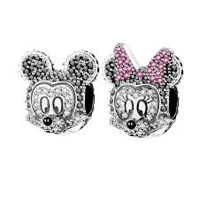 black pandora charm bracelet images Real 925 silver color black clear zircon minnie mickey charm fit jpg