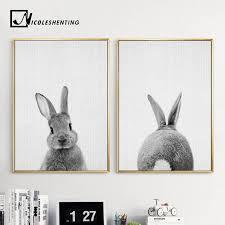 rabbit prints aliexpress buy black white rabbit wall canvas posters