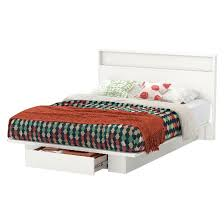 South Shore Headboard Trinity Storage Platform Bed With Headboard Pure White Queen