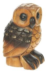 carved wooden owl ornament large top and
