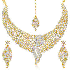 big gold necklace set images Sukkhi gold plated australian diamond choker necklace with drop jpg