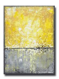 original art abstract painting yellow grey large wall