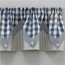 Blue Plaid Kitchen Curtains by Country Valance Curtains York Country Blue Point Valance