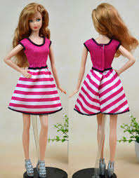 pink striped vest dress barbie dolls pretty fashion piece