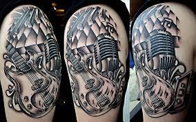 musical instument design on half sleeve tattooshunt com