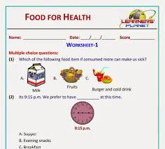 food for health science revision worksheets videos class 2 cbse