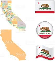San Bernardino Ca Map California Map And Flag Collection Stock Vector Art 505896270 Istock