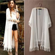 new fashion women half sleeve white long chiffon coats sun block